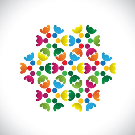 social worker: Concept graphic- abstract colorful teams of people icons(signs). The illustration shows concepts like worker unions,employee diversity,community friendship & sharing,kids playing,etc