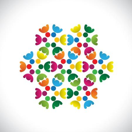 integral: Concepto equipos colorido gr�fico-resumen de los iconos (signos). La ilustraci�n muestra conceptos como los sindicatos de trabajadores, la diversidad de los empleados, la comunidad y compartir la amistad, los ni�os jugando, etc