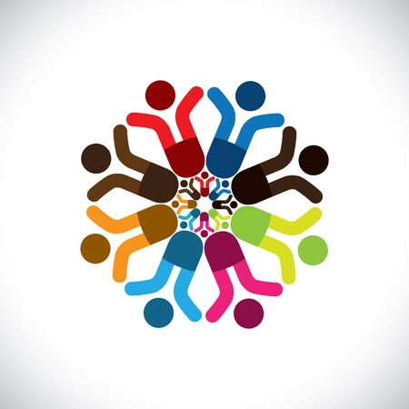 integral: Concept  graphic- abstract colorful children celebrating icons(signs). The illustration shows concepts like worker unions,employee diversity,community friendship & sharing,kids playing,etc
