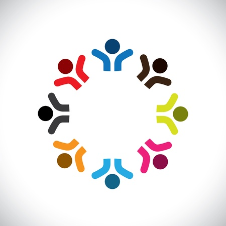 social worker: Concept graphic- abstract colorful happy people icons(signs). The illustration represents concepts like worker unions,employee diversity,community friendship & sharing,kids playing,etc