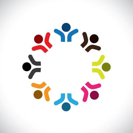 integral: Concepto de gr�ficos abstractos coloridos iconos de la gente feliz (signos). La ilustraci�n representa a conceptos como los sindicatos de trabajadores, la diversidad de los empleados, la comunidad y compartir la amistad, los ni�os jugando, etc Vectores