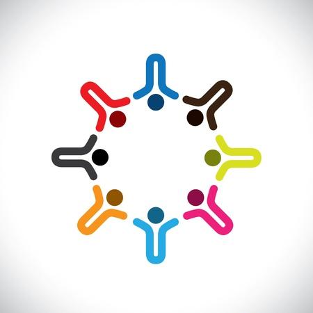 integral: Concepto de gr?ficos abstractos coloridos felices los ni?os iconos (signos). La ilustraci?n representa a conceptos como los sindicatos de trabajadores, la diversidad de los empleados, la comunidad y compartir la amistad, los ni?os jugando, etc