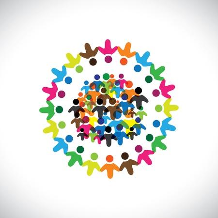 integral: Iconos Concepto de red gr�fico-social de los colores (signos). La ilustraci�n representa a conceptos como los sindicatos de trabajadores, la diversidad de los empleados, la comunidad y compartir la amistad, los ni�os jugando, etc