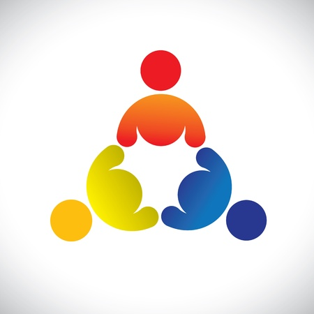 folks: Concept graphic- colorful threesome children playing icons(signs). The illustration represents concepts like worker unions,employee diversity,community friendship & sharing,kids playing,etc Illustration