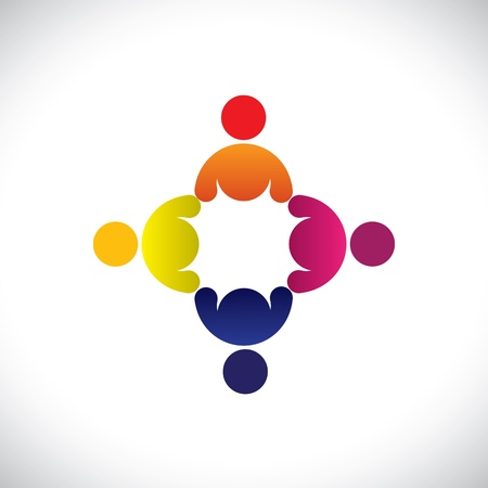 Concept graphic- abstract colorful workers meeting icons(signs). The illustration represents concepts like worker unions,employee diversity,community friendship & sharing,kids playing,etc