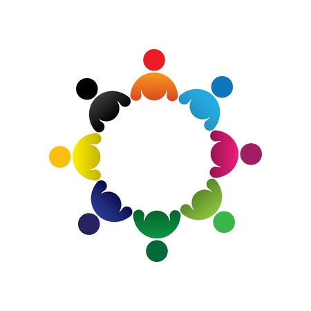 folks: Concept graphic- abstract colorful children group icons(signs). The illustration represents concepts like worker unions,employee diversity,community friendship & sharing,kids playing,etc