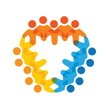 citizens: Concept graphic- colorful corporate employees teams icons(signs). The illustration represents concepts like worker unions,employee diversity,community friendship & sharing,children playing,etc Illustration
