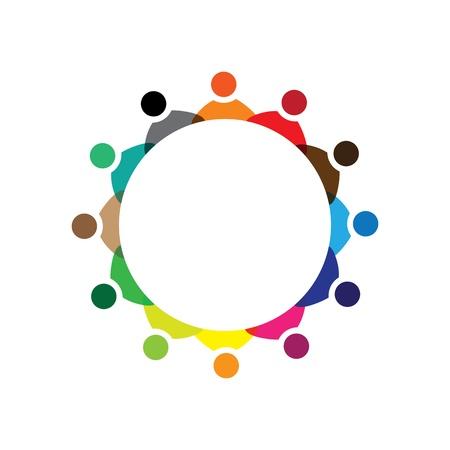 Conceito Graphic- funcionários da empresa de reunião colorido ícones (sinais). A ilustração representa conceitos como entidades sindicais dos trabalhadores, a diversidade dos funcionários, comunidade amizade e partilha, crianças brincando, etc