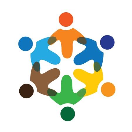 integral: Iconos Concepto de gr�ficos coloridos ni�os de la escuela jugando (signos). La ilustraci�n representa a conceptos como los sindicatos de trabajadores, la diversidad de los empleados, la comunidad y compartir la amistad, los ni�os jugando, etc Vectores