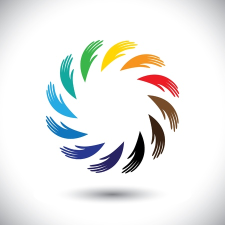 synergy: Concept  graphic- human hand symbols(icon) as colorful circle. The illustration also represents concepts like teamwork, cooperation, community sharing, friendship, partnership, unity & solidarity