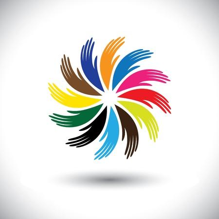 sinergia: Símbolos de la mano de gráficos humanos Concepto (iconos) como círculo floral. La ilustración también representa conceptos como el trabajo en equipo, la cooperación, el intercambio de la comunidad, la amistad, la cooperación, la unidad y la solidaridad