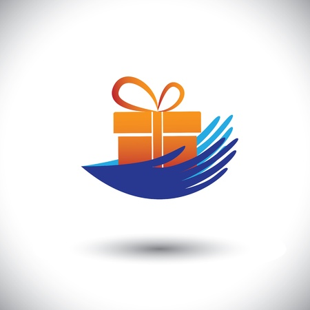 dar un regalo: Las manos de Concepto gráfico-mujer con el regalo icono (símbolo). La ilustración puede representar conceptos como conseguir bonos, regalos, ofertas de empleo, beneficios de sorpresa y también dar a la caridad, etc