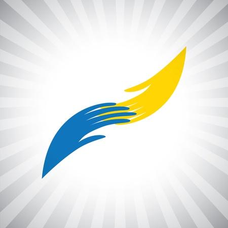 Concepto símbolo gráfico de la mano y dos de dar, recibir y ayudar. La ilustración con siluetas de palmeras de colores también representa conceptos como compartir, apoyar, orientar, etc Ilustración de vector