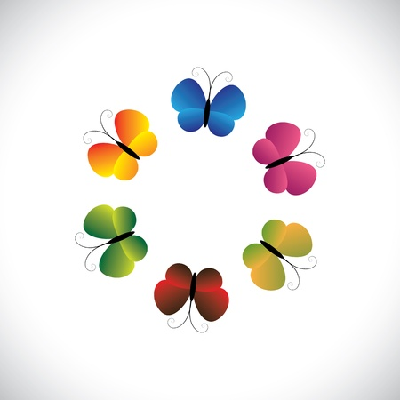 red butterfly: Concept  graphic- beautiful colorful butterfly icons as a ring. The illustration shows pretty butterflies in red, orange, yellow, green & pink colors arranged as a circle