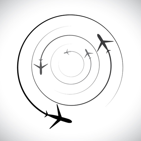 Concept graphic- airplane icons with its flying path. This illustration can also represent silhouette symbols of a military jet speeding up in the sky