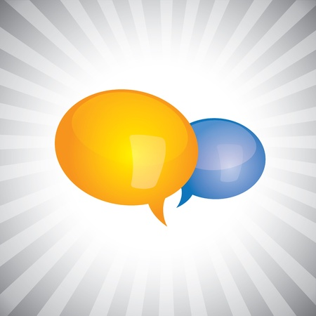 Concept vector- shiny, glossy chat symbols or speech bubble icons. The illustration can represent people chatting, in a meeting, or having personal conversation, or having some important discussion