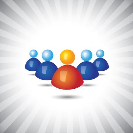 superintendent: Gr�fico-l�der y los empleados o directivos de vectores iconos Concepto (s�mbolos). La ilustraci�n muestra conceptos como el liderazgo, grupos de trabajo, trabajo en equipo, etc