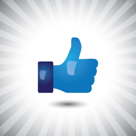 thumbs up sign: Concept vector- glossy, stylish social media like hand icon(Symbol). The illustration shows a shiny like sign or icon used in social media websites