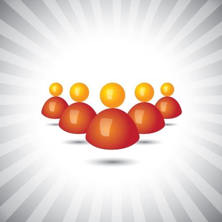 superintendent: Concepto gr�fico vectorial-empleados o personas iconos de negocios (s�mbolos). La ilustraci�n muestra conceptos como el liderazgo, grupos de trabajo, trabajo en equipo, etc