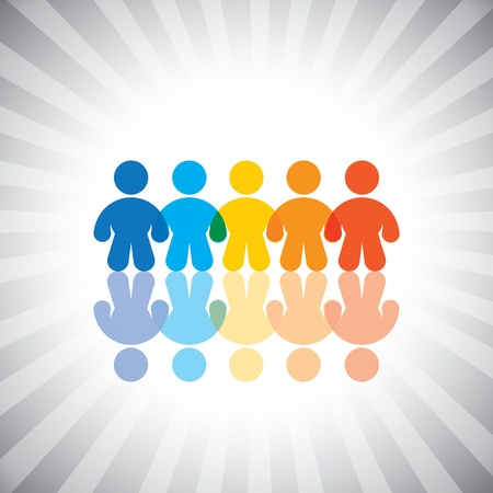 cooperative: Concept graphic- colorful united kids or children icons(symbols). The illustration shows concepts like togetherness, worker groups, teamwork, community, friendship, etc