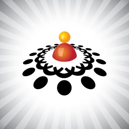 superintendent: Concepto gr�fico-manager (l�der) y empleados iconos de reuniones (s�mbolos). La ilustraci�n muestra conceptos como el liderazgo, grupos de trabajo, trabajo en equipo, etc Vectores