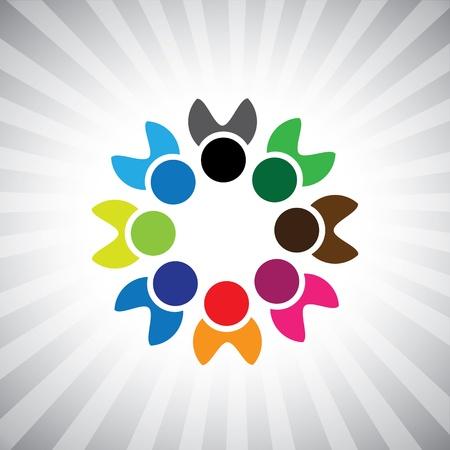 folks: colorful happy children or kids icons(symbols).  Illustration