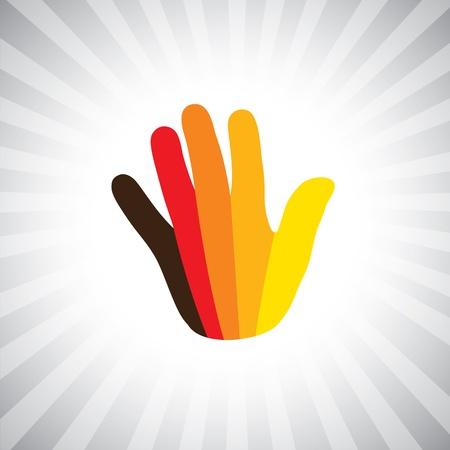 Concept grafische-abstracte kleurrijke hand (palm) symbool (icoon). De illustratie van de menselijke hand toont 5 vingers in bocht en levendige kleuren zoals geel, oranje, rood, bruin, etc