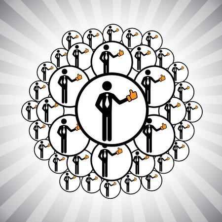 conform: Concept graphic- people network connected by like hand icons. The illustration shows team of people, friends, community, relatives etc connecting(networking) to each other by liking others