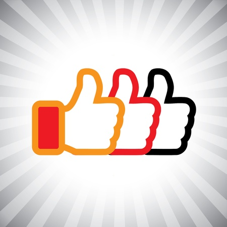 like button: Concept graphic- social media like hand icons(Symbol) set. The illustration shows three thumbs up signs in orange, red and black colors