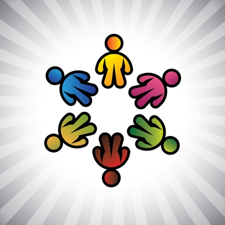 Concept graphic- colorful  children or kids icons(symbols) in circle. The illustration can also represent concepts like employee unions,community friendship & sharing,kids playing,etc