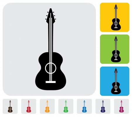 simple acoustic guitar symbol icon -minimalistic graphic  The illustration has the icon on grey, green, orange and blue backgrounds   useful for websites, blogs, documents, printing, etc Stock Vector - 20612025