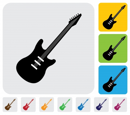 simple electric guitar symbol icon -minimalistic graphic  The illustration has the icon on grey, green, orange and blue backgrounds   useful for websites, blogs, documents, printing, etc Stock Vector - 20612023