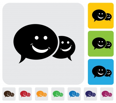 simplistic icon: Speech bubbles chat icons  with smile- minimalistic graphic  The illustration has simple colorful icons on green,orange   blue backgrounds   is useful for websites,blogs,documents,printing,etc Illustration