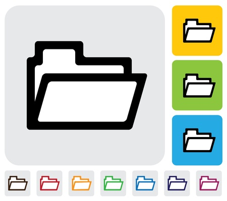 folder icon symbol  used for online data management- graphic  The illustration has simple colorful icons on green,orange   blue backgrounds   is useful for websites,blogs,documents,printing,etc Illustration