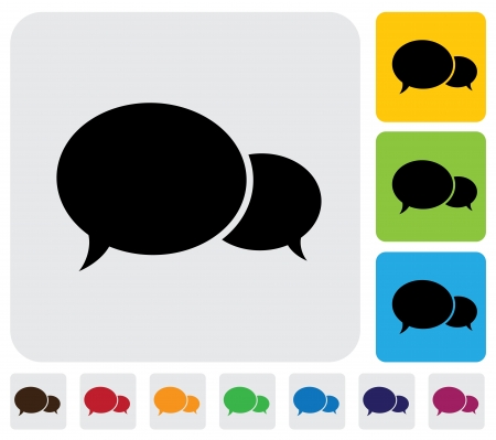 Two speech bubbles chat icons - minimalistic graphic  The illustration has simple colorful icons on green,orange   blue backgrounds   is useful for websites,blogs,documents,printing,etc Stock Vector - 20611935