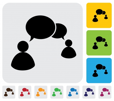 People talking concept using speech bubbles- simple graphic  The illustration has simple colorful icons on green,orange   blue backgrounds   is useful for websites,blogs,documents,printing,etc Stock Vector - 20612010