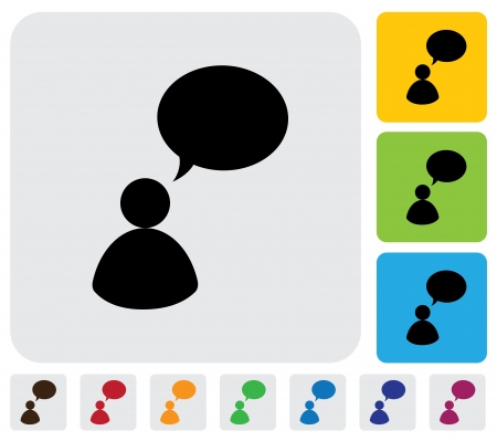 Person talking concept using speech bubbles- simple graphic  The illustration has simple colorful icons on green,orange   blue backgrounds   is useful for websites,blogs,documents,printing,etc Stock Vector - 20611929