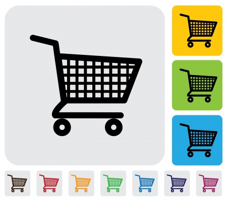 simplistic icon: Shopping cart icon symbol  for online purchases- graphic  The illustration has simple colorful icons on green,orange   blue backgrounds   is useful for websites,blogs,documents,printing,etc Illustration