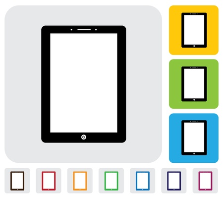 tablet PC or handheld computer icon symbol  - simple graphic  The illustration has simple colorful icons on green,orange   blue backgrounds   is useful for websites,blogs,documents,printing,etc Stock Vector - 20611987