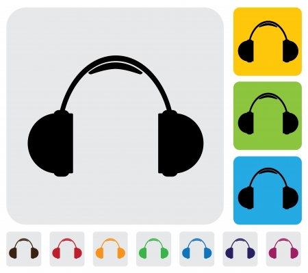 simplistic icon: wireless headphone or headset icon symbol  - simple graphic  The illustration has simple colorful icons on green,orange   blue backgrounds   is useful for websites,blogs,documents,printing,etc