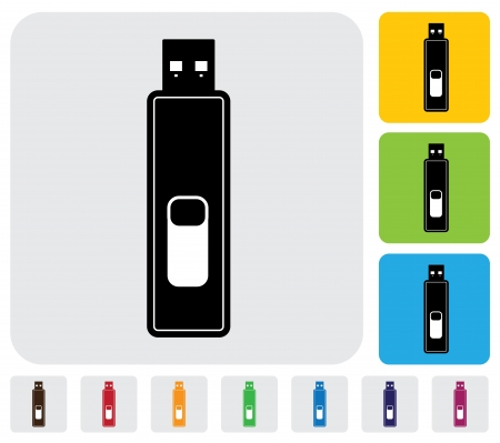 simplistic icon: device for data storage- graphic  The illustration has simple colorful icons on green,orange   blue backgrounds   is useful for websites,blogs,documents,printing,etc Illustration