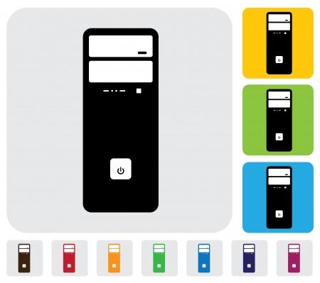 Hardware CPU ou de bureau ou poste de travail graphique simple L'illustration a icônes colorées simples sur le vert, fond bleu orange est utile pour les sites web, blogs, documents, impression, etc Vecteurs