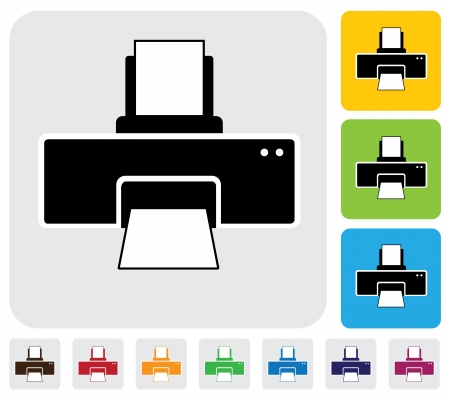 inkjet printer: ink-jet or laser-jet printer- simple graphic  The illustration has simple colorful icons on green,orange   blue backgrounds   is useful for websites,blogs,documents,printing,etc
