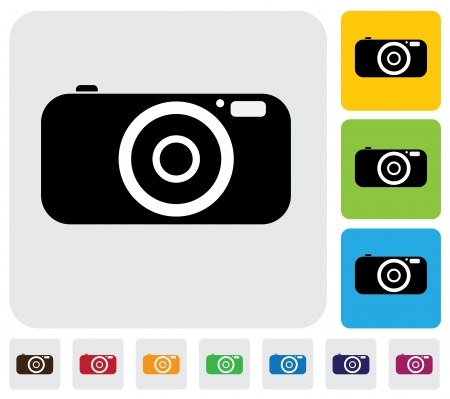 digital camera or point and shoot camera- simple graphic  The illustration has simple colorful icons on green,orange   blue backgrounds   is useful for websites,blogs,documents,printing,etc Illustration