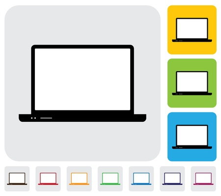 simplistic icon: laptop computer in different colors- simple graphic  The illustration has simple colorful icons on green,orange   blue backgrounds