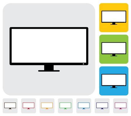 flat screen tv: LCD or LED flat TV television  screen- simple graphic  The illustration has simple colorful icons on green,orange   blue backgrounds   is useful for websites,blogs,documents,printing,etc