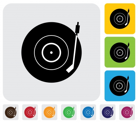 record player: Old record player(turntable) symbol(icon)-minimalistic graphic. The illustration has a simple icon green,orange & blue backgrounds & is useful for websites,blogs,documents,printing,etc