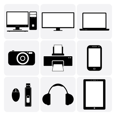 TV,computer, camera, laptop, notebook & other electronic gadgets.  Stock Vector - 20611920