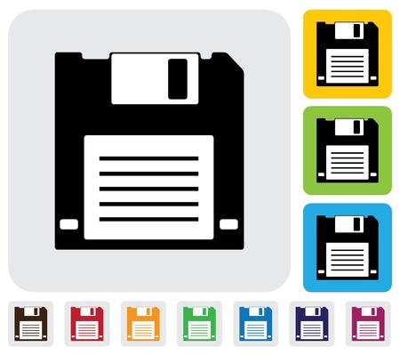 simplistic icon: floppy disk for saving data icon(symbol)- simple  graphic. This illustration has the floppy disk icon on grey, green, orange and blue backgrounds & useful for websites, documents, printing, etc