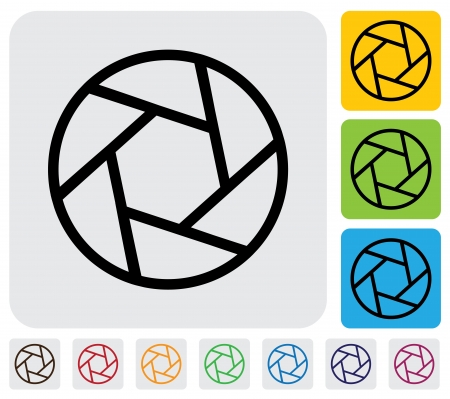 camera shutter: camera lens shutter blades icon(symbol) outline- simple graphic. This illustration has the shutter icon on grey, green, orange and blue backgrounds & useful for websites, documents, printing, etc Illustration